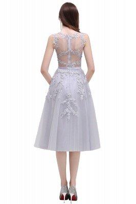 ЭМИРА | A-Line Crew Tea Length Кружева Appliques Короткие платья выпускного вечера_21