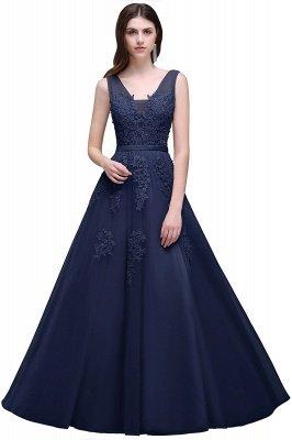 V-Ausschnitt A-Linie Bodenlanges Tüll Brautjungfernkleid | Brautjungfer Kleid Mit Applikationen_7