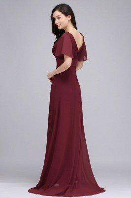 COLETTE | A-Linie bodenlanges Chiffon Burgund Prom Kleid mit weichen Falten_9