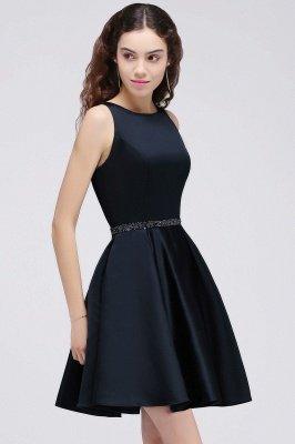 BRIANNA | A-Line cuello redondo corto Dark Navy vestidos de fiesta con cristal_4