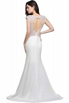 AYLEEN | Mermaid Scoop White Chiffon Evening Dress With Beadings_8