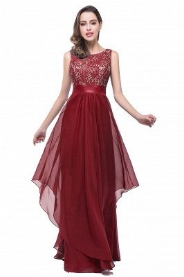 ADDISON | A-line Floor-length Chiffon Evening Dress with Lace_1