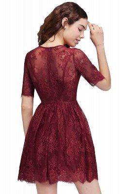 BRITTANY | A linha de vestidos de baile em volta do pescoço curto Lace Borgonha_3
