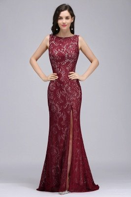 DULCE | Mermaid Crew Floor-length Sleeveless Burgundy Lace Prom Dresses_2
