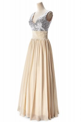 AISLINN | A-line V-neck Chiffon Party Dress With  Sequined_9