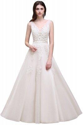 V-Ausschnitt A-Linie Bodenlanges Tüll Brautjungfernkleid | Brautjungfer Kleid Mit Applikationen_2