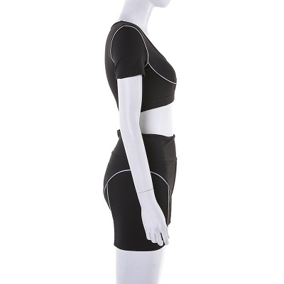 Active Yoga Seamless High Waist Two Piece Legging Fitness Set Tight Hip Short Sleeve Suit_35