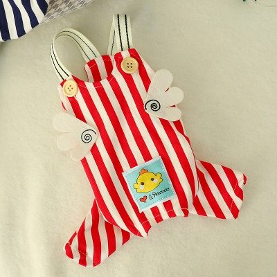 Stripe Straps Dog Jump Suite With Long Pants   Puppy Cloth_2