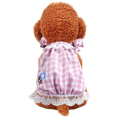 Pink Straps Grid Lace Dog Cloth_4