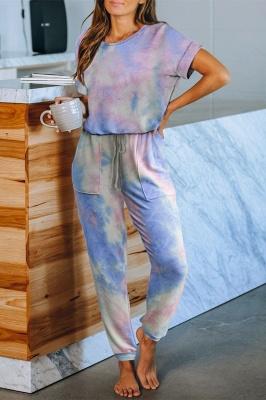 Elegante verano de manga corta cuello redondo Homewear en línea_3