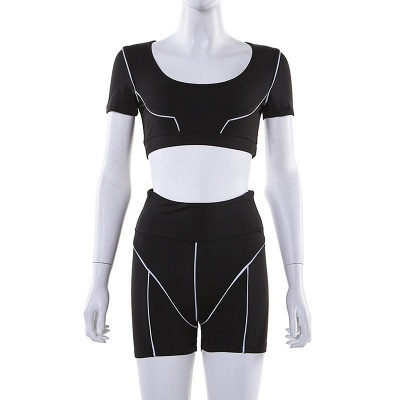 Active Yoga Seamless High Waist Two Piece Legging Fitness Set Tight Hip Short Sleeve Suit_39