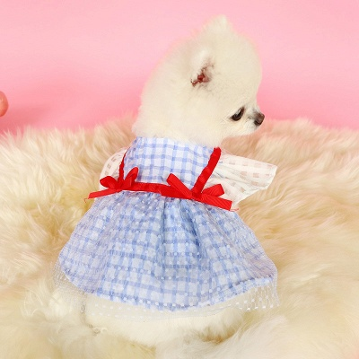 Short Sleeve Grid Pets Cloth With Bow_3
