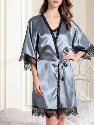 Elegant Simulation Silk Pajamas Online with Lace Edges