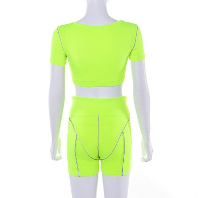 Active Yoga Seamless High Waist Two Piece Legging Fitness Set Tight Hip Short Sleeve Suit_32