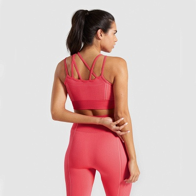 2 Pieces Ribbed Seamless Yoga Outfits Sports Bra and Leggings Set Tracksuits 2 Piece_2