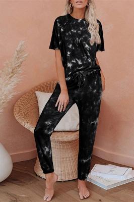 Tie-Dye Kurzarm Pyjama Online-Druck Freizeit Damen Home Wear Online_7