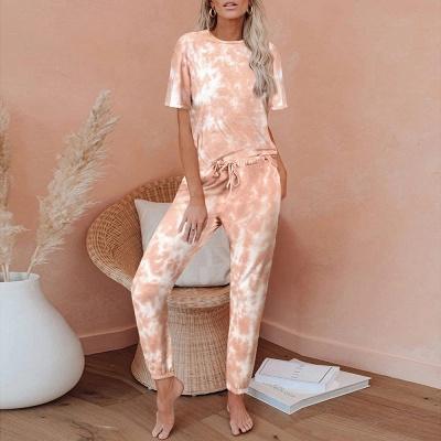 Tie-Dye Kurzarm Pyjama Online-Druck Freizeit Damen Home Wear Online_1