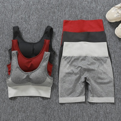 Burgundy Two sets Fitness Two Pieces Fitness Yoga Set_23