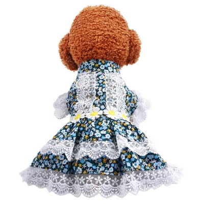 Ruffles Short Sleeve High Neck  Floral Dog Skirts | Lace Flower Pet Cloth