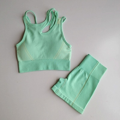 2 Pieces Ribbed Seamless Yoga Outfits Sports Bra and Leggings Set Tracksuits 2 Piece_29
