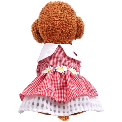 Short Sleeve Grid Pets Skirt with Collar For Puppy_2