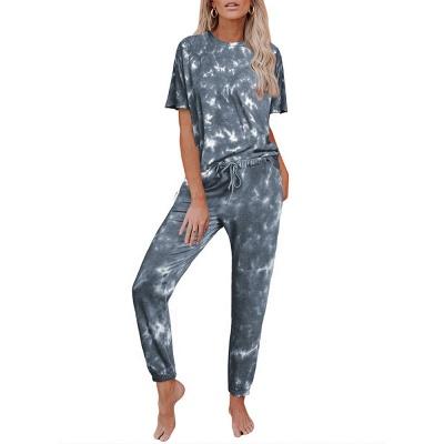 Tie-Dye Kurzarm Pyjama Online-Druck Freizeit Damen Home Wear Online_5
