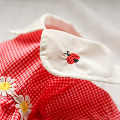 Short Sleeve Grid Pets Skirt with Collar For Puppy_5