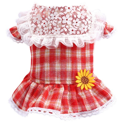 Lovely Grid Lace Ruffles Puppy T Shirt With Flowers_4