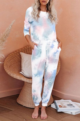 Elegant Long Sleeve Homewear Online Two Pieces Tie-dye Round Neck Pajamas Online