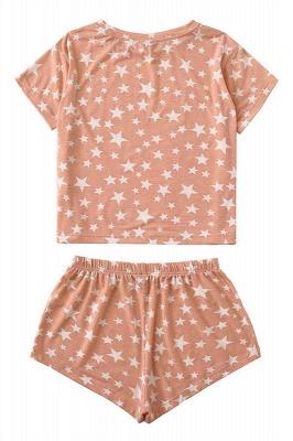 Pijama de manga corta con efecto tie-dye Ropa de casa de dos piezas estampada de verano en línea_3
