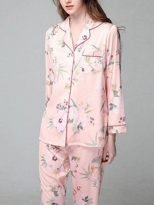 Loisirs Femmes à manches longues en soie glacée imprimé pyjamas chemise de nuit en ligne_2