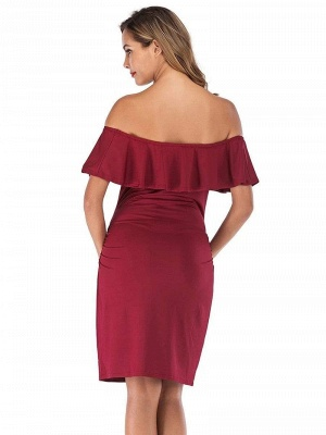 Bodycon Off-the-Shoulder Fitting Maternity Ruffles Breastfeeding Dress_2