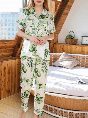Beautiful Two-pieces Imitation Silk Printed Pajamas Online Sets Online_4