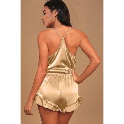 Seidenpyjamas Set Cami Shorts Spaghettiträger Ärmellose Sexy Nachtwäsche Loungewear Zweiteilige Pj Sets_4