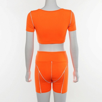 Active Yoga Seamless High Waist Two Piece Legging Fitness Set Tight Hip Short Sleeve Suit_17