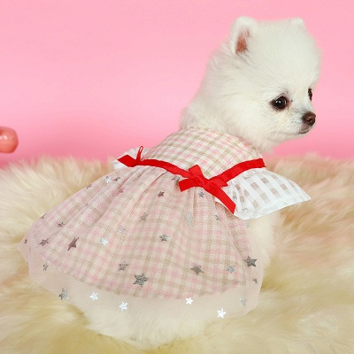 Short Sleeve Grid Pets Cloth With Bow_2