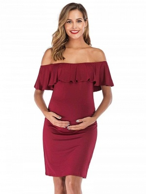 Bodycon Off-the-Shoulder Fitting Maternity Ruffles Breastfeeding Dress