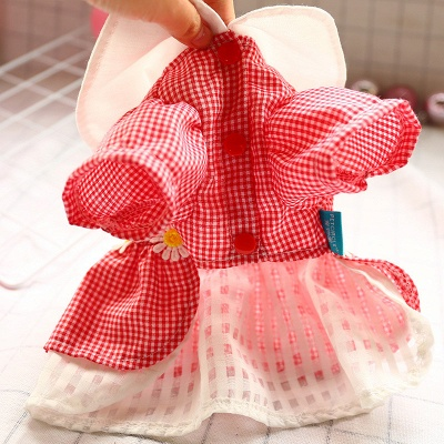 Short Sleeve Grid Pets Skirt with Collar For Puppy_4