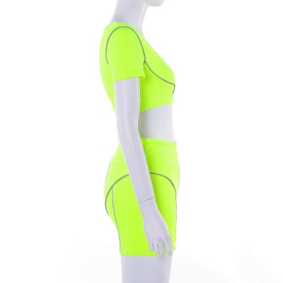 Active Yoga Seamless High Waist Two Piece Legging Fitness Set Tight Hip Short Sleeve Suit_31
