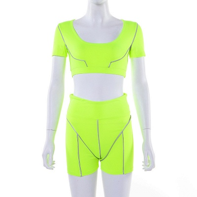 Active Yoga Seamless High Waist Two Piece Legging Fitness Set Tight Hip Short Sleeve Suit_30