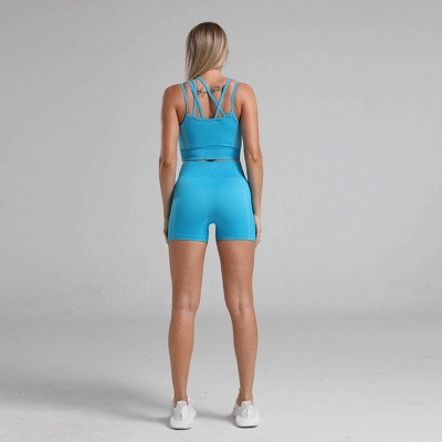 2 Pieces Ribbed Seamless Yoga Outfits Sports Bra and Leggings Set Tracksuits 2 Piece_22