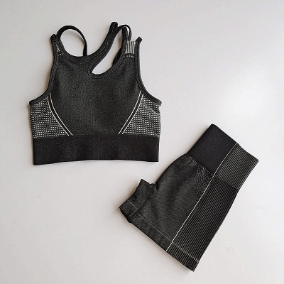 2 Pieces Ribbed Seamless Yoga Outfits Sports Bra and Leggings Set Tracksuits 2 Piece_32