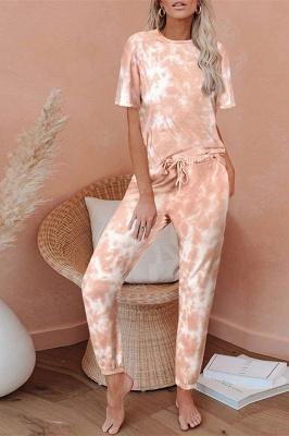 Tie-dye Пижамы с короткими рукавами онлайн печать досуг дамы домашняя одежда онлайн