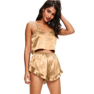 Seidenpyjamas Set Cami Shorts Spaghettiträger Ärmellose Sexy Nachtwäsche Loungewear Zweiteilige Pj Sets_3