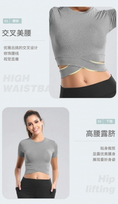Workout Yoga Crop Tops Gym Exercise Clothes Crop Top Workout Muslce Shirts for Women_15