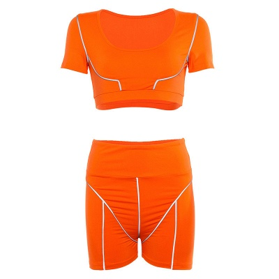 Active Yoga Seamless High Waist Two Piece Legging Fitness Set Tight Hip Short Sleeve Suit_37