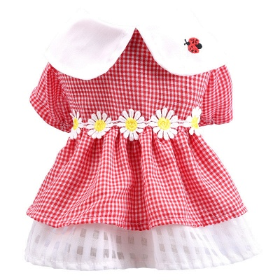 Short Sleeve Grid Pets Skirt with Collar For Puppy_3