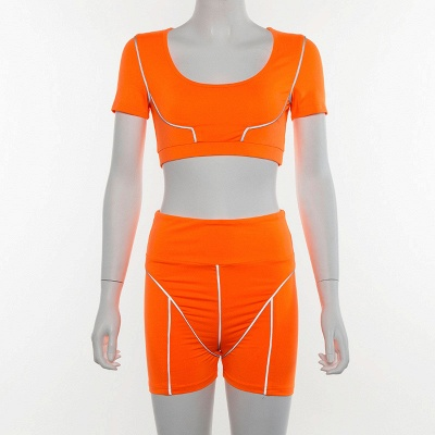Active Yoga Seamless High Waist Two Piece Legging Fitness Set Tight Hip Short Sleeve Suit_15