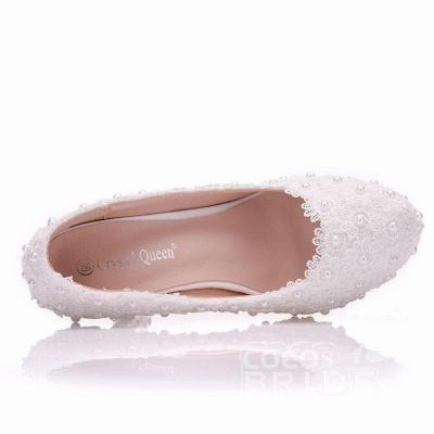 Женская с жемчугом через лодыжку туфли на высоком каблуке свадебные туфли_3
