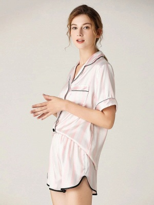 Elegant Short Sleeves Sexy Summer Lapel Silk Home Pajamas Online_4